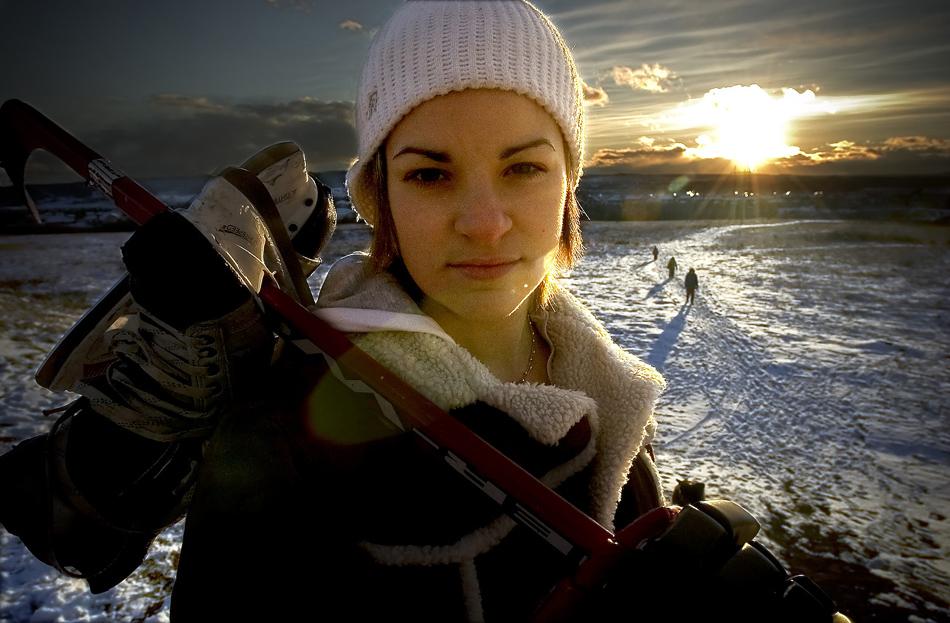 Sarah Vaillancourt, de l'équipe de Hockey Féminin du Canada, à sa première participation aux Jeux Olympiques d'hiver à Turin 2006. Calgary janvier 2006.